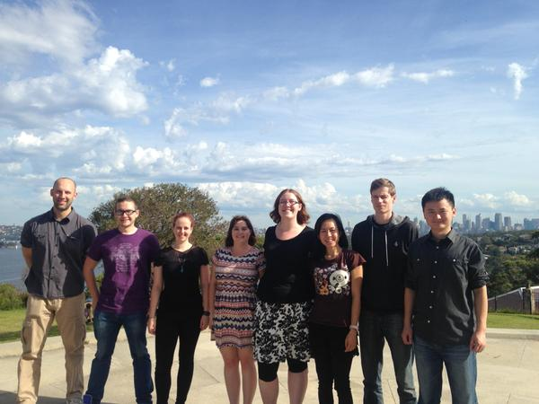 Some of the lab attending AMIGOS in Sydney (Ryan, Paul, Claire, Jane, Harriet, Shu Mei, Stephen, Wan)